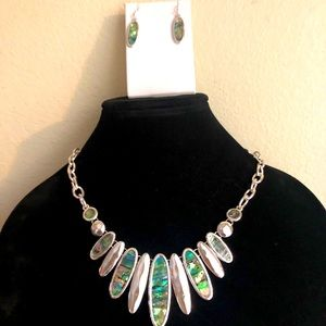 Abalone stone necklace and earrings.  Rhodiumstone